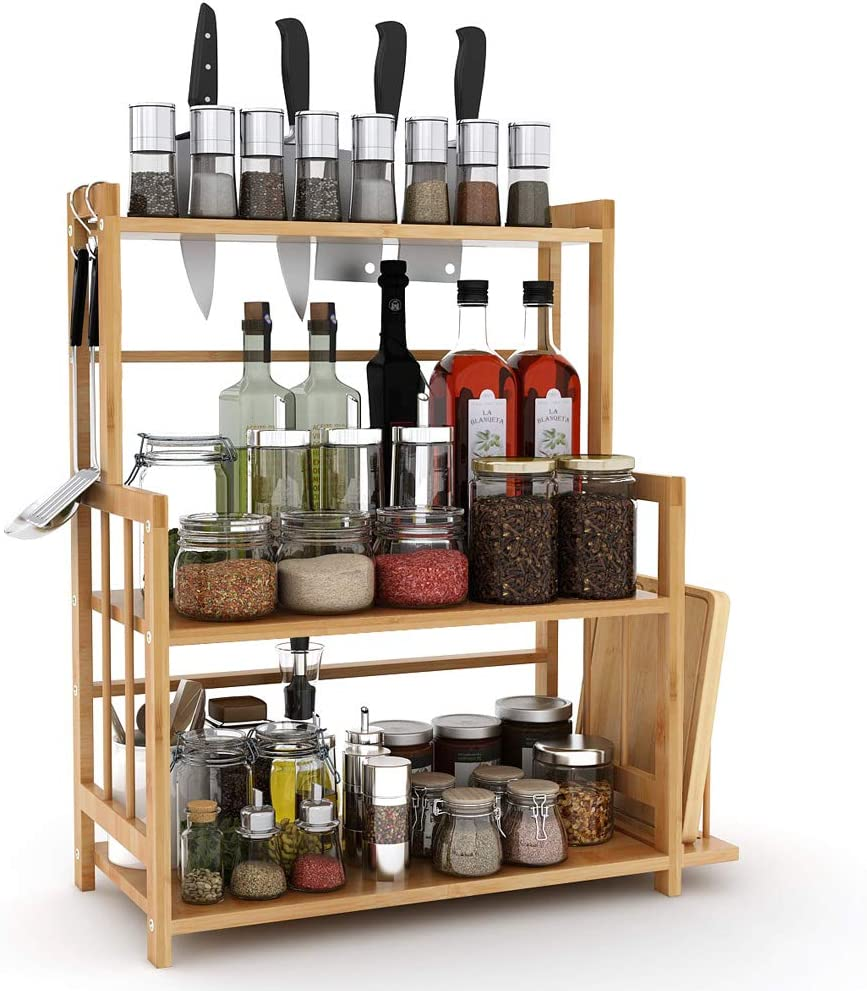 Tribesigns 3-Tier Standing Spice Rack Kitchen Bathroom Countertop Storage Organizer with Knife Holder & Chopping Board Rack, Bamboo Spice Bottle Jars Rack Holder with Adjustable Shelf
