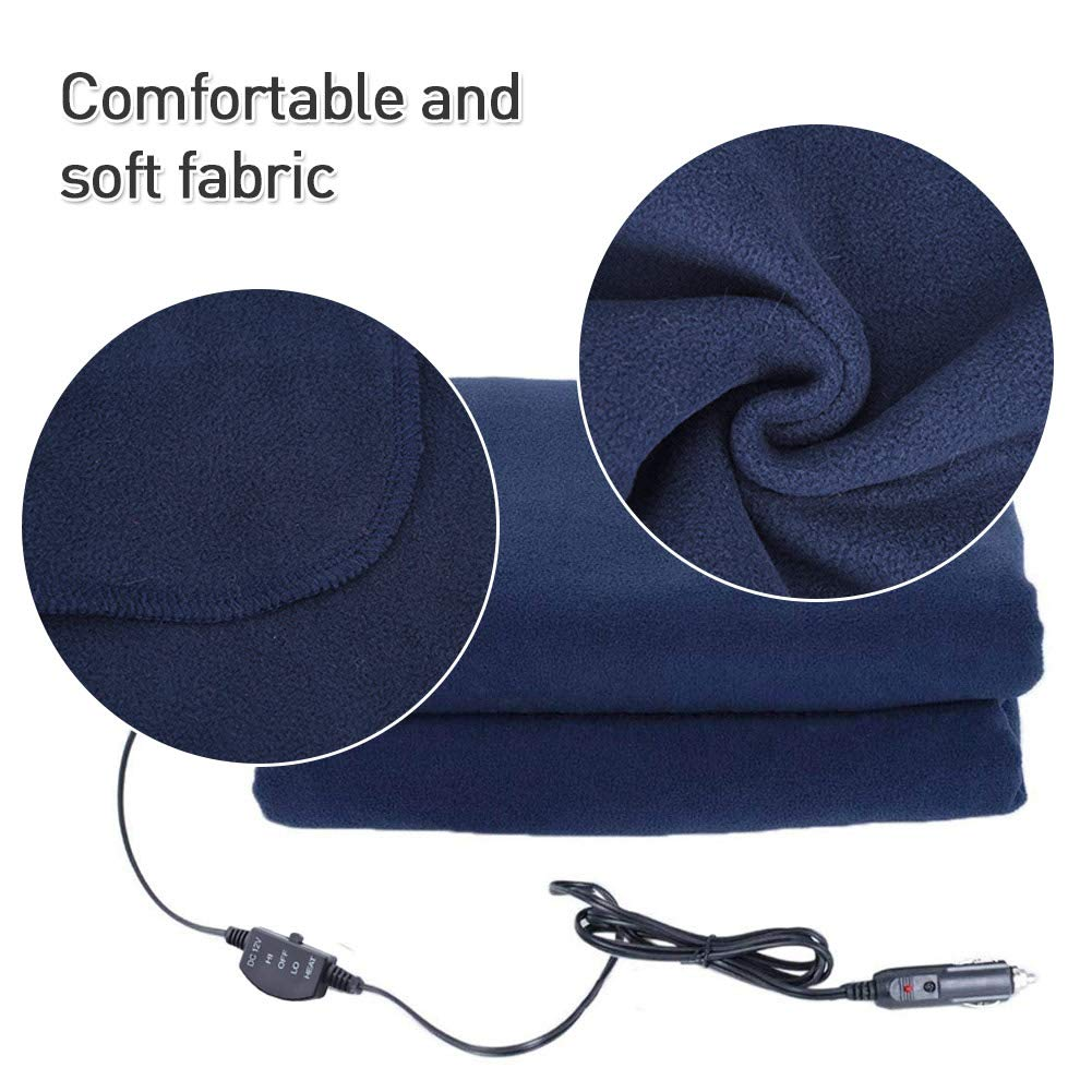 Tailgating and Emergency Trucks blue--net Car Heated Fleece Travel Blanket 12V Automotive Comfortable Heating Car Seat Blanket Electric Car Blanket for Cars RV SUV and Van for Cold Weather