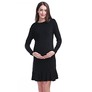 7699627e9c Happy-Life-House Women s Maternity Dress Bodycon Ruched Long Sleeve  Fishtail Pregnant Skirt(