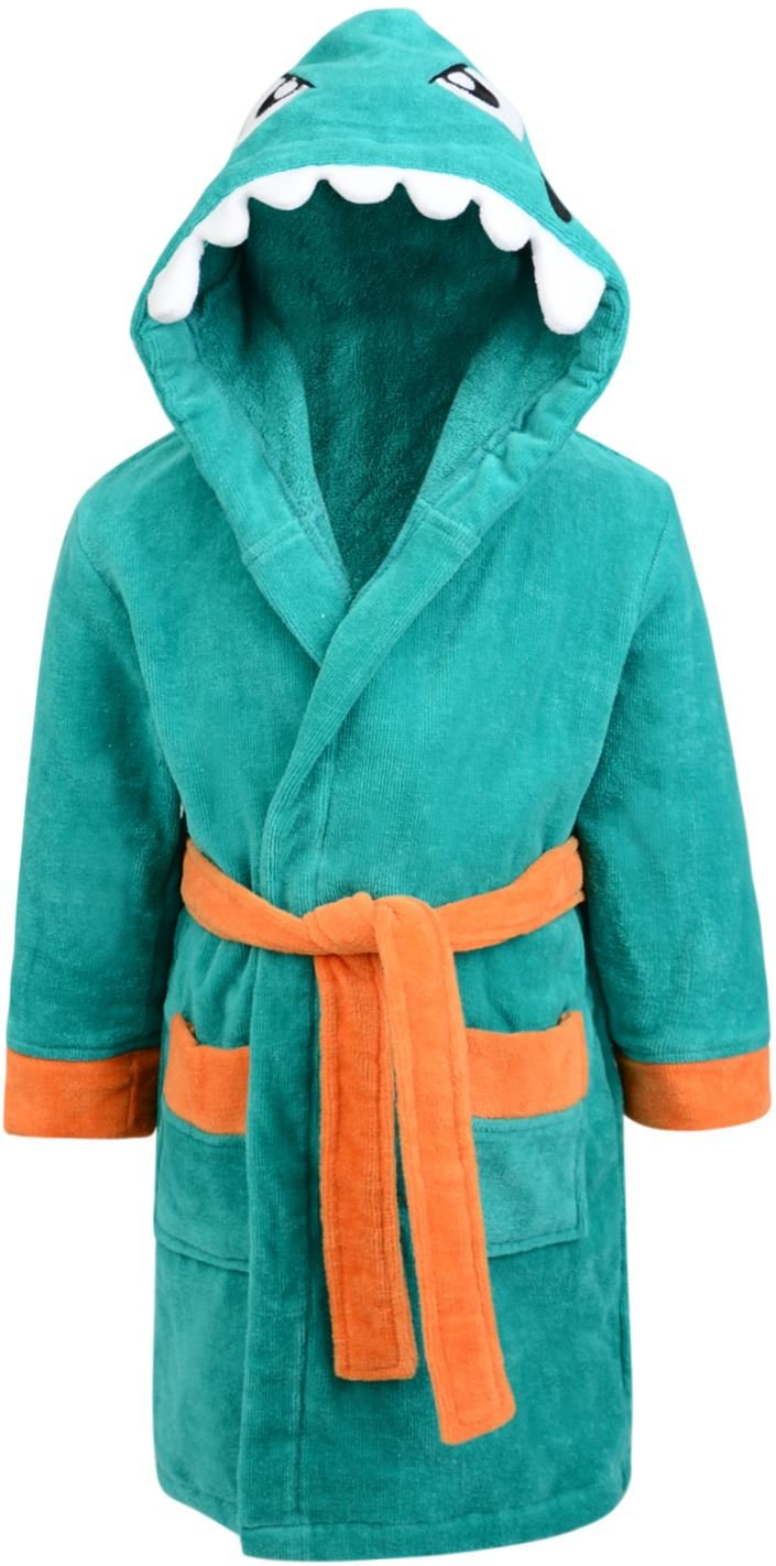 Adore Home Childrens 100% Cotton Bathrobe with Dinosaur Character Hood and Fitted Belt Ages 2-8 Soft Velour