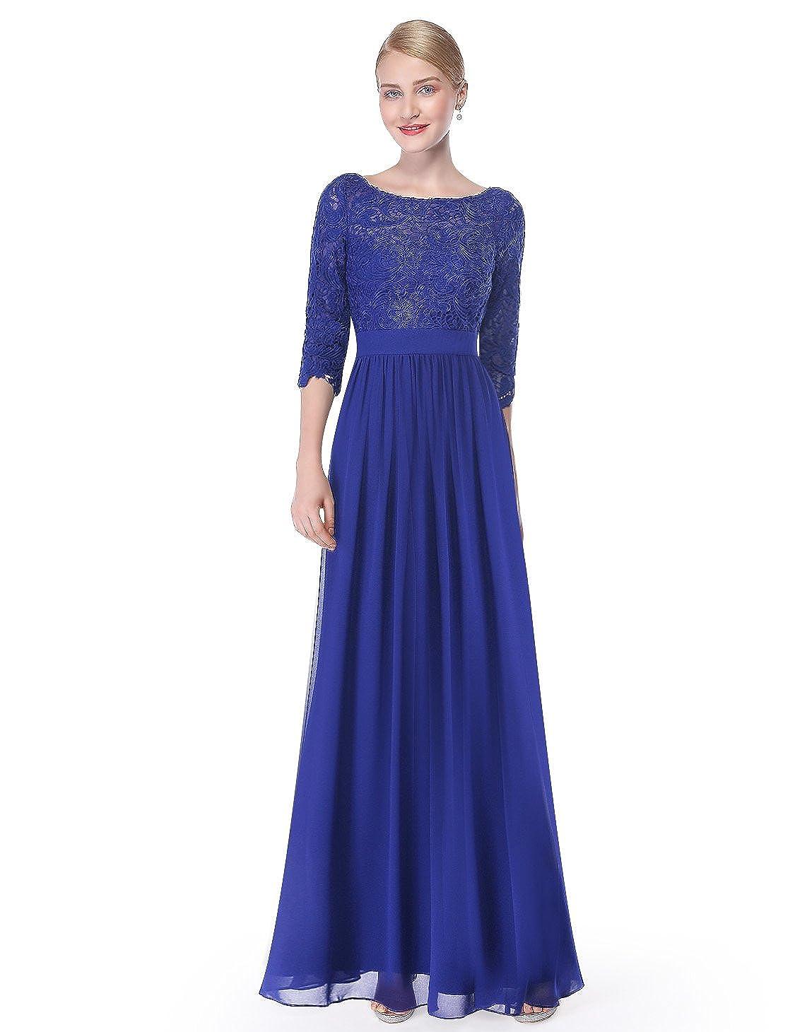 3ad39da94e8d Ever-Pretty Women s Lace Long Sleeve Floor Length Evening Dress 08412 at  Amazon Women s Clothing store