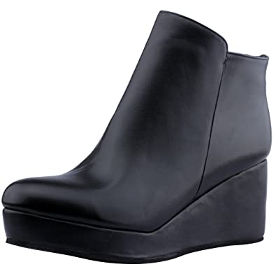 Womens Eleyou Round Toe 6CM Wedge Heel Zipper Boots Shoes