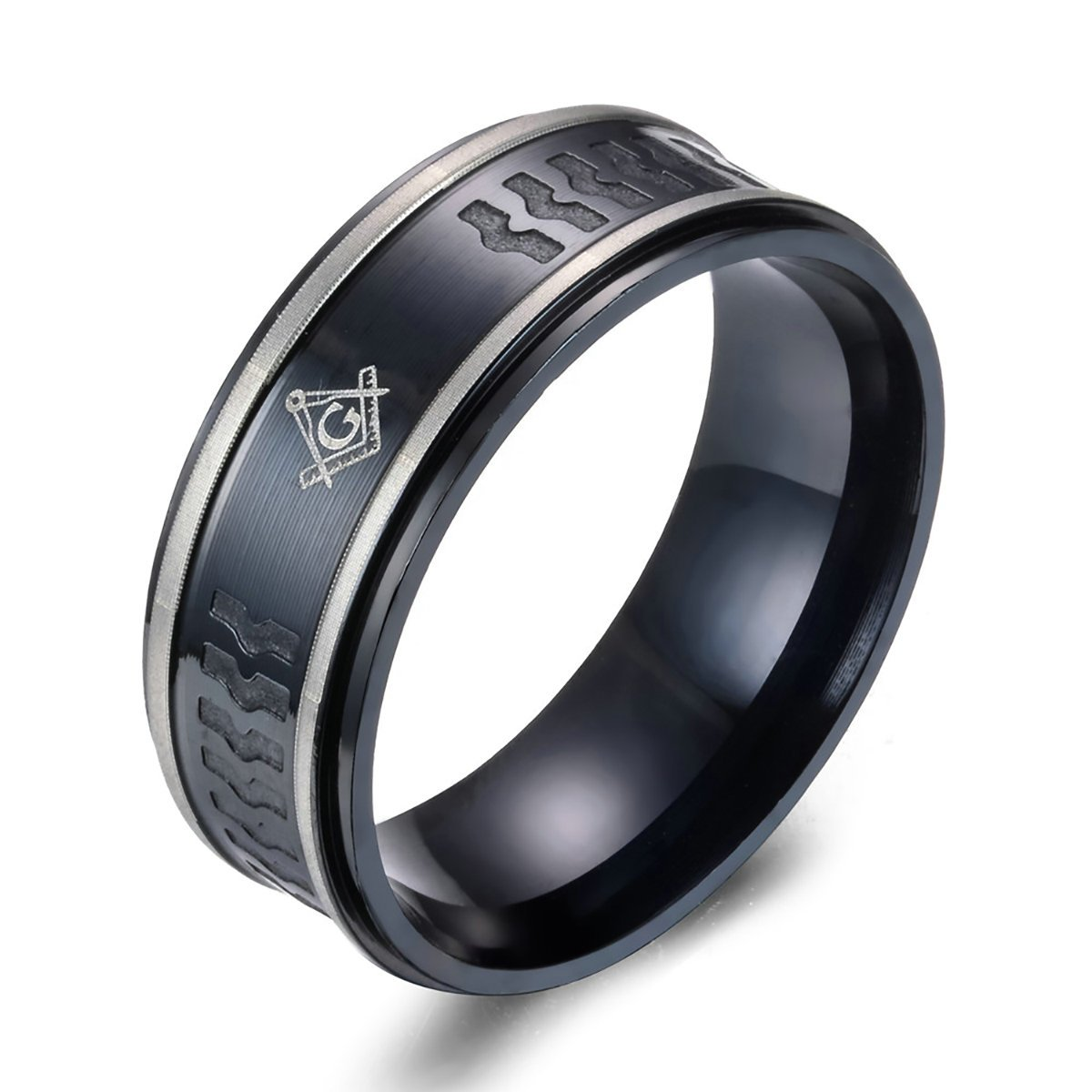 Men's Titanium Masonic Ring Embossed Wedding Rings Double Silver Strip Bands Fort Fit Amazon: Masonic Wedding Band Anium Ring At Reisefeber.org
