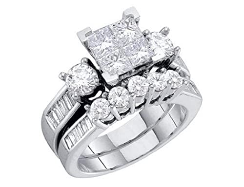 Juego de Anillos de Boda de boda de diamante en oro blanco .9 quilates oro