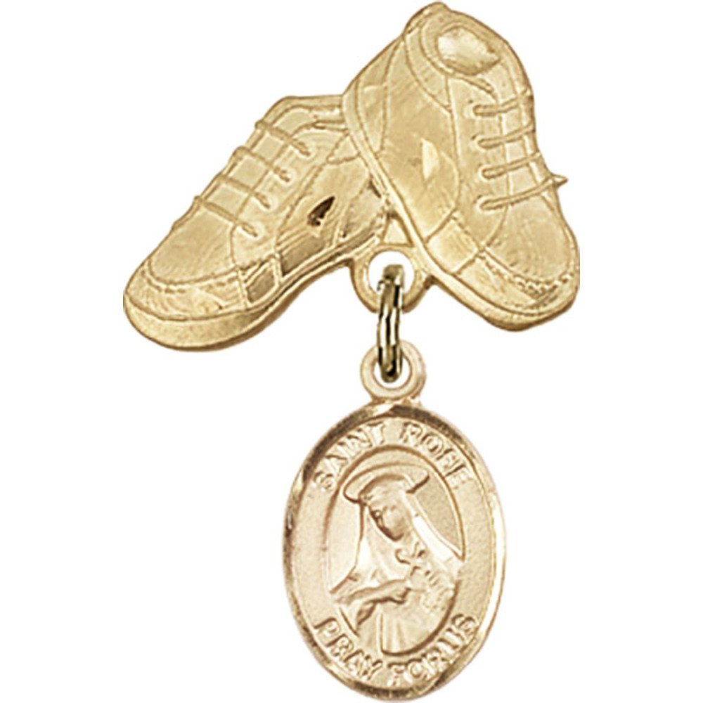 Gold Filled Baby Badge with St. Rose of Lima Charm and Baby Boots Pin 1 X 5/8 inches