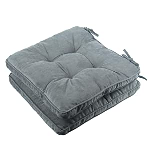 Solid Papasan Patio Seat Cushion Square Chair Pad Home Floor Cushion 18 Inch Set of 2 Throw Pillows Indoor/Outdoor with String Ties Grey