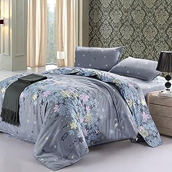Vaulia Lightweight Microfiber Duvet Cover Sets, Floral Print Pattern Design, Grey - Queen Size