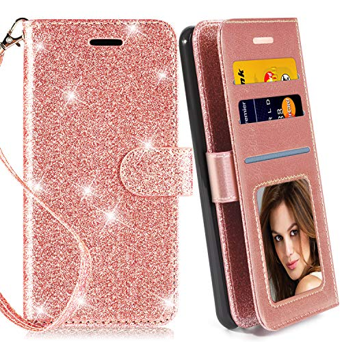 Galaxy S5 Case, with Screen Protector, TPU + Leather Bling Glitter Flip Wallet Case with Kickstand Credit Card Holder Slot for Girls/Women for Samsung Galaxy S5, Rose Gold (Purse Case For Samsung Galaxy S5)