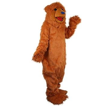 Langteng Disfraz de Mascota de oso marrón con dibujos animados ...