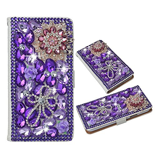 [Spritech(TM) PU Leather Bling Phone Case for Samsung Galaxy Grand Prime G530 2015 Edition,Handmade Purple Crystal Small Blue Flower Accessary Design Stand Folding with Card Slot Cellphone Cover] (Crystal Colors Pink Blue Ruby)