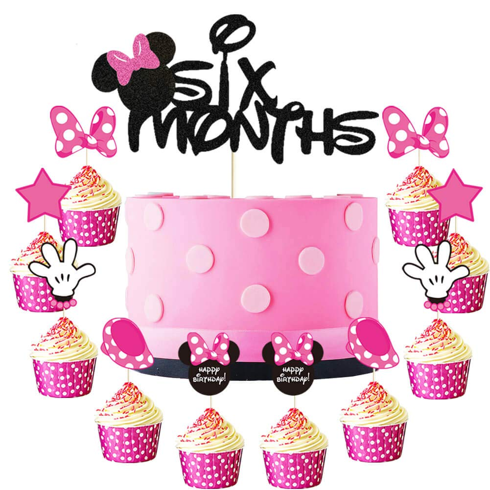 Minnie Six Months Cake Topper Pink and Balck Minnie Inspired 1/2 Year Birthday Cupcake Topper Minnie Mouse 6 Months Pregnant/One Half Year/100 Days Birthday Baby Shower Party Cake Supplies Decorations