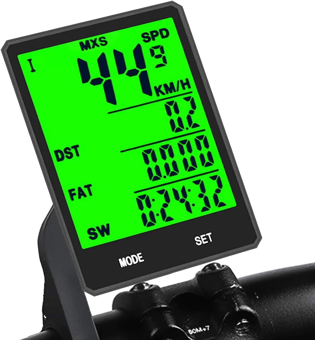 KASTEwill - Ordenador inalámbrico para bicicleta, IP66 resistente al agua, 21 funciones, velocímetro LCD de velocidad para bicicleta