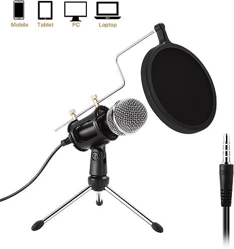 Etpark PC Micrófono, Micrófono profesional de 3,5 mm con soporte ...