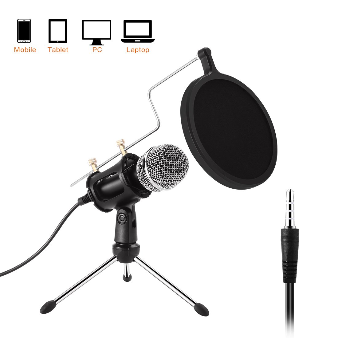 PC Microphone - Etpark USB Plug & Play Professional Home Studio Condenser Microphone for Podcast, Recording,Online Chatting Such as Facebook,MSN, Skype,YouTube,Games,for PC,Laptop,Windows/Mac,with Tripod Stand,Pop Filter Mini Desktop MIC Stand Etpark51