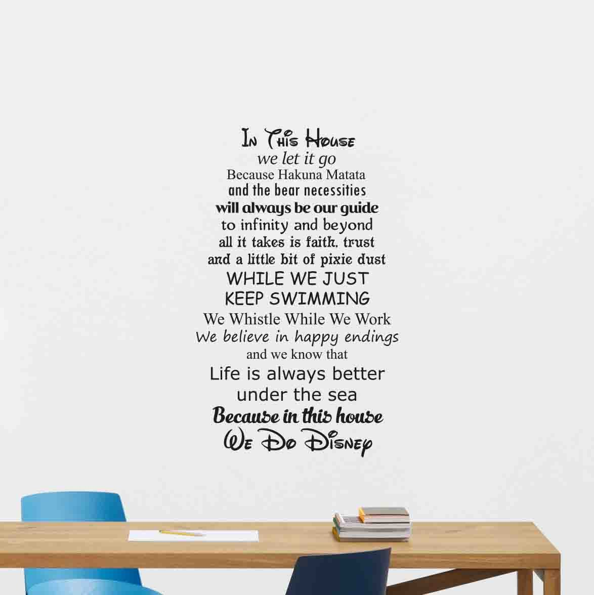 Disney Wall Decal Quote in This House We Do Disney Walt Disney Mickey Mouse Home Bedroom Vinyl Sticker Cartoons Movie Lettering Boy Baby Kids Wall Art Nursery Decor Mural 182crt
