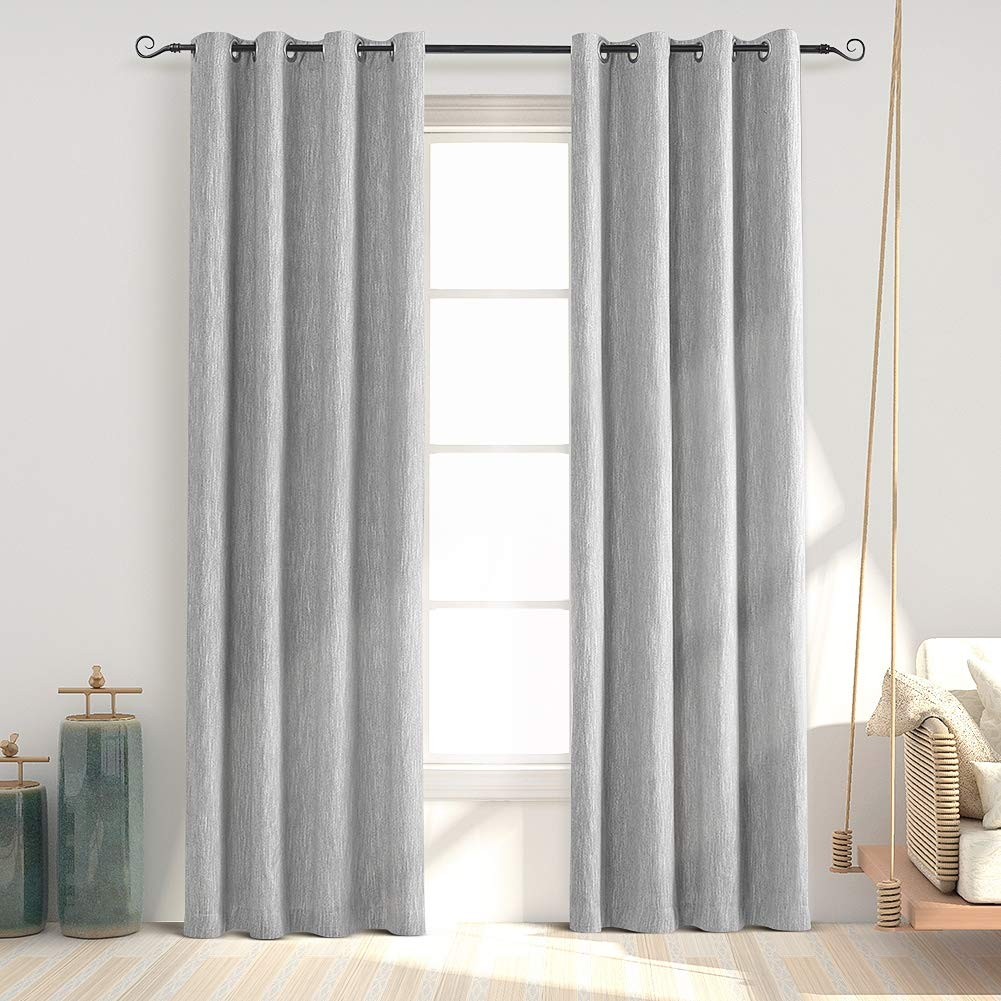 Melodieux Elegant Cotton Thermal Insulated Room Darkening Blackout Grommet Curtains for Living Room Bedroom, 52 by 84 Inch, Grey 1 Panel