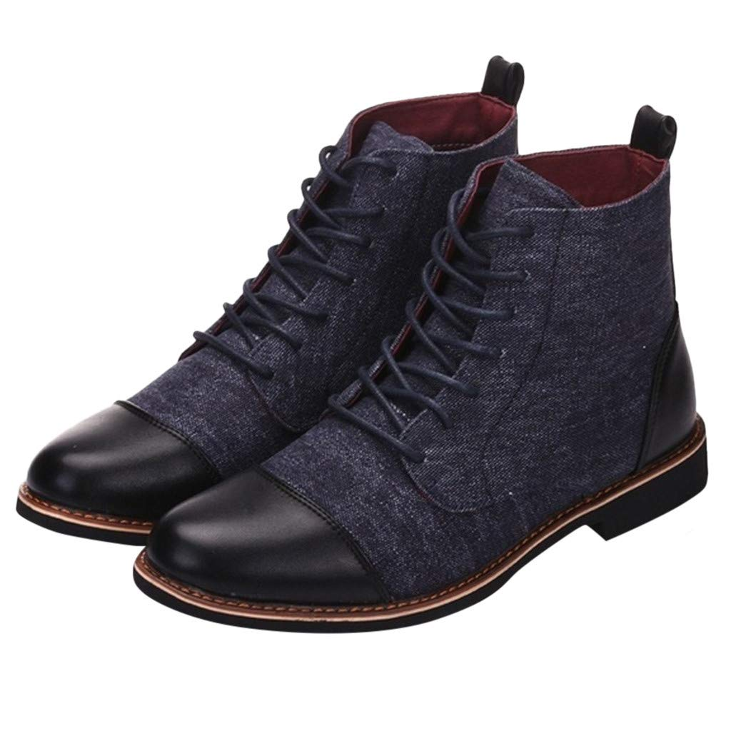 Men Canvas Leather Short Boots Casual England Chukka Lace Ankle Bootie Chukka Shoes (US:9.5, Blue) by Yihaojia Men Shoes (Image #1)