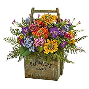 Nearly Natural Mixed Floral in Wood Basket 22