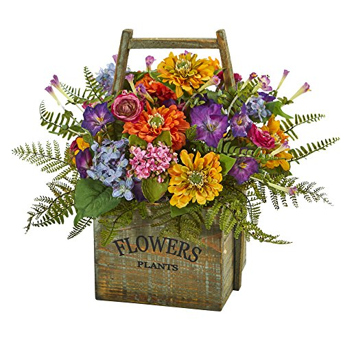 Nearly Natural Mixed Floral in Wood Basket