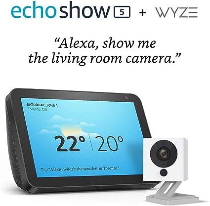 Amazon Com Echo Show 5 Charcoal With Wyze 1080p Indoor Smart