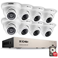 ZOSI 8-Channel 720P HD-TVI Home Surveillance Camera System,1080N CCTV DVR Recorder (1TB Hard Disk Built-in ) and (8) 1.0MP 1280TVL Outdoor/Indoor Security Cameras with Night Vision LEDs-White