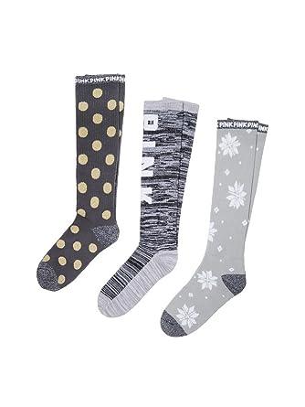 48916b4427 3 Pack Victoria s Secret Pink Knee High Socks Giftset Black   Marl Grey  Polka Dot Snowflake at Amazon Women s Clothing store