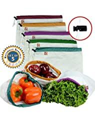 The Original Eco Friendly Washable and Reusable Produce Bags - Soft Premium Lightweight Cotton Muslin Canvas Large - 12x14in - Set of 5 (Red, Yellow, Green, Blue, Purple) | By Naturally Sensible