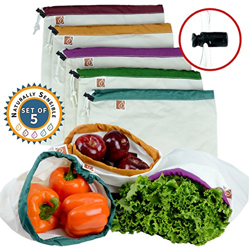(Zero Waste Reusable Produce Bags | Cute Premium Eco Friendly Washable Organic Cotton Muslin Cloth | Best Bag For Fruit, Vegetable, Grocery Food Shopping & Storage | w/Drawstring wi)