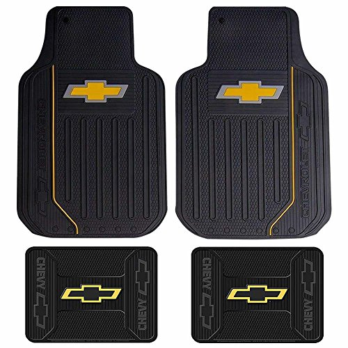 (U.A.A. INC. Chevy Chevrolet Gold Bowtie Logo Elite Series Front & Rear Car Truck SUV Seat)
