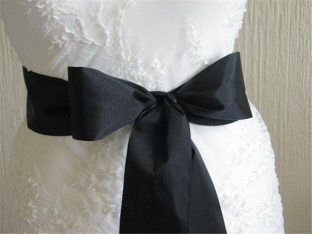 Trlyc Cinturón para vestido de novia con aplique de strass black ribbon