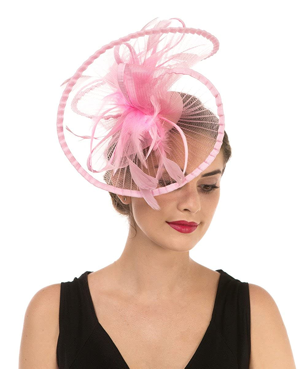 b3c742062 Lucky Leaf Women Girl Fascinators Hair Clip Hairpin Hat Feather Cocktail  Wedding Tea Party Hat and Hairband for Women (3-Pink)