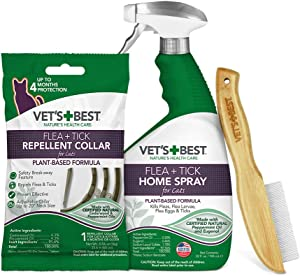 Vet's Best Flea and Tick Treatment Combo Kit | Flea Treatment for Cats | Flea Killer with Certified Natural Oils