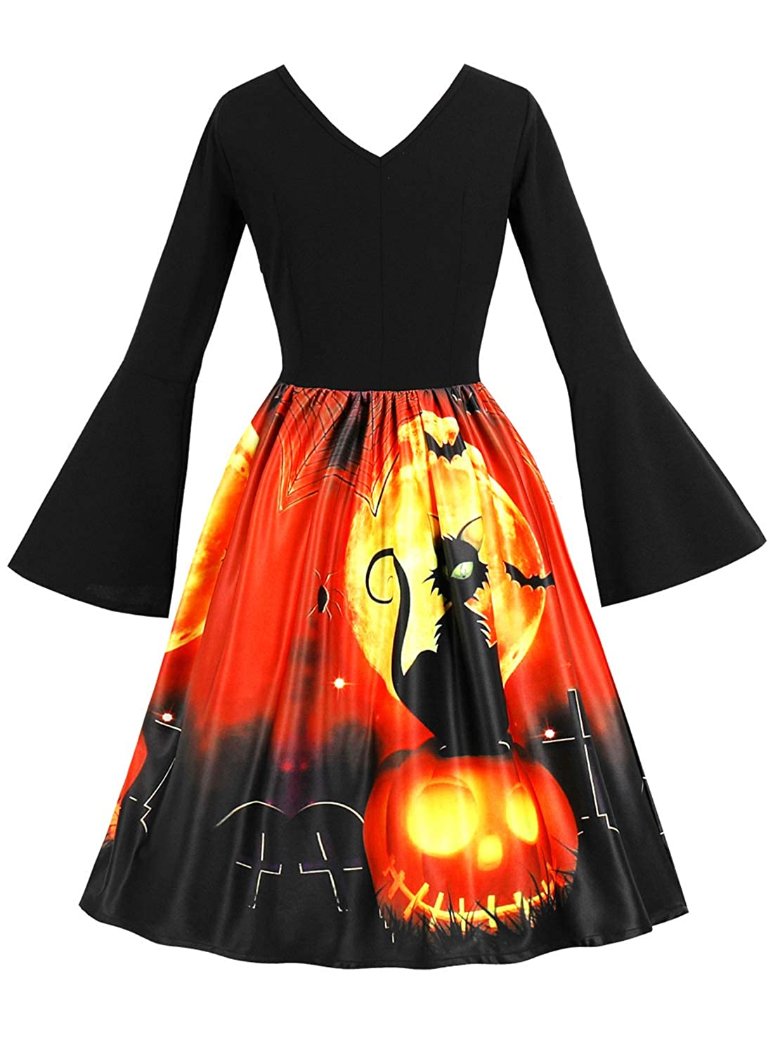 MERRYA Women's Vintage Halloween Print Flare Sleeve Cocktail Party Dress