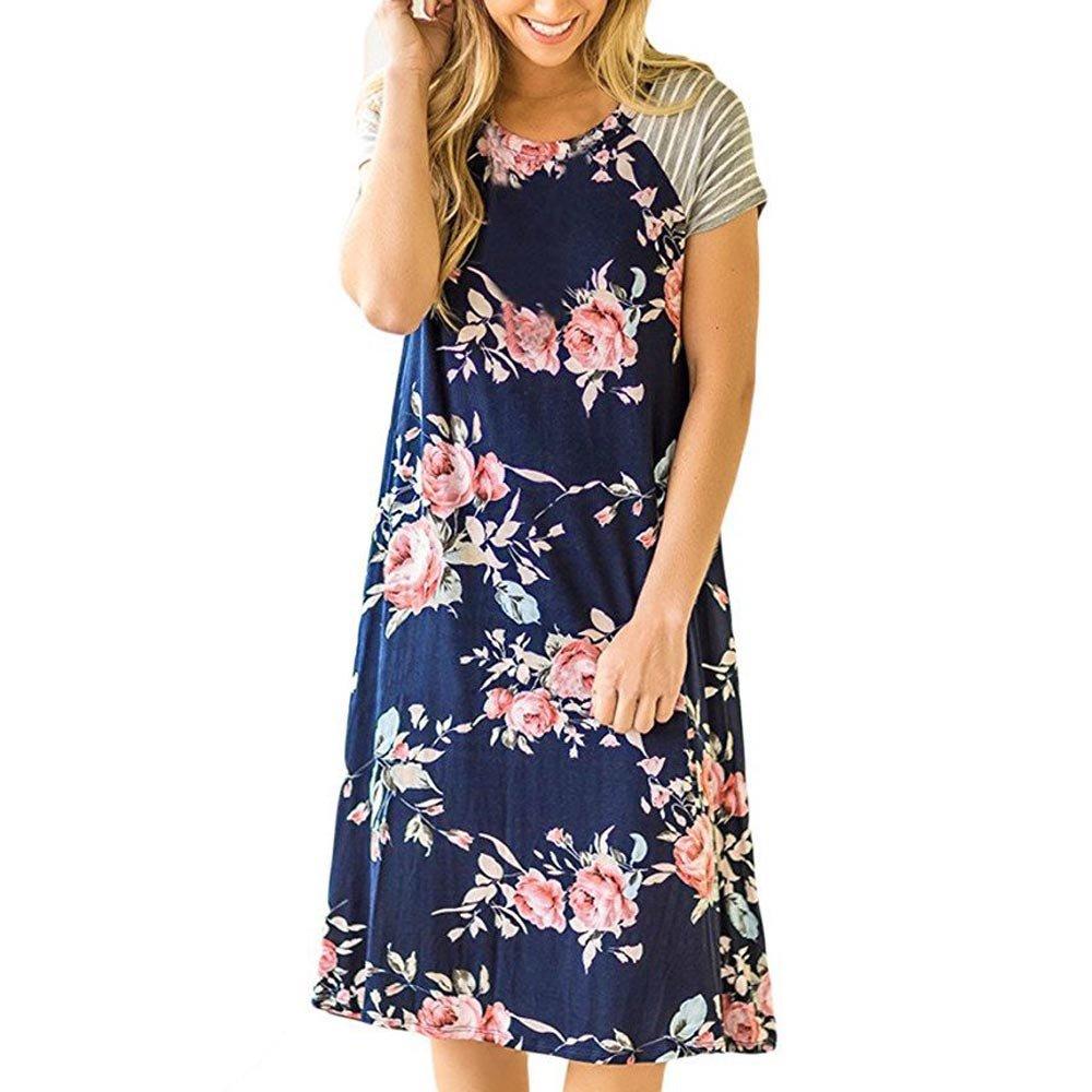 Respctful Floral Print A-Line Splice Stripe Short Sleeve Losse Dress for Women