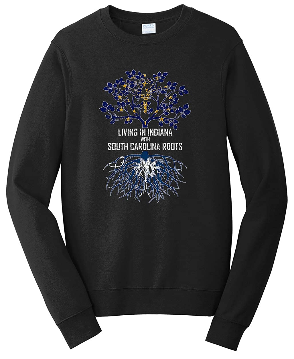 Tenacitee Girls Living in South Carolina with Indiana Roots Hooded Sweatshirt