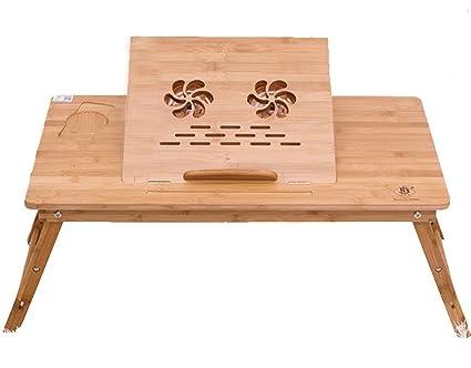 Bureau pour ordinateur portable réglable en bambou avec usb