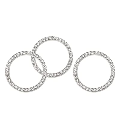 HONBAY 3PCS Auto Start Ring Auto Decor Rhinestone Car Bling Bling Emblem Sticker Crystal Car Button Decor (White): Toys & Games