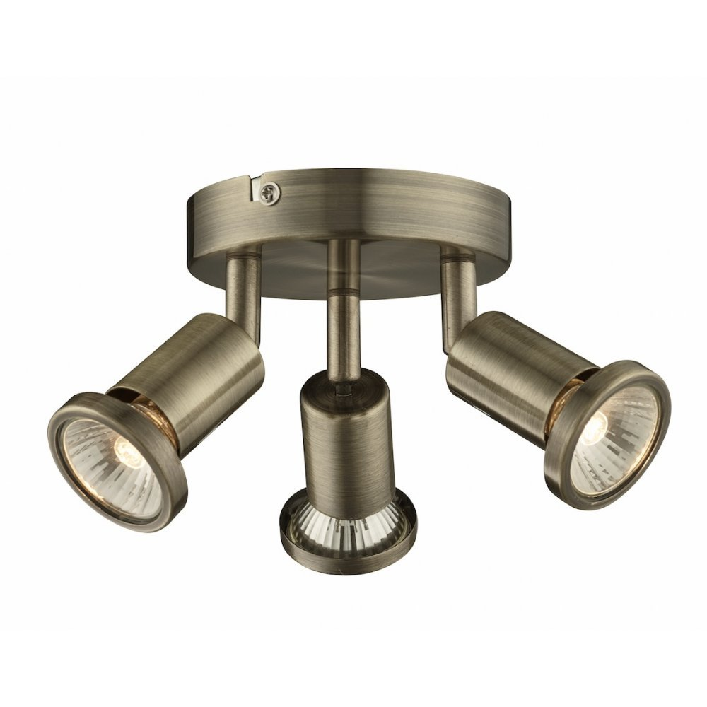 Modern 3 Light Ceiling Spotlight in Antique Brass with 3x 50 watt Halogen Lamps Lights4Living RH124AB