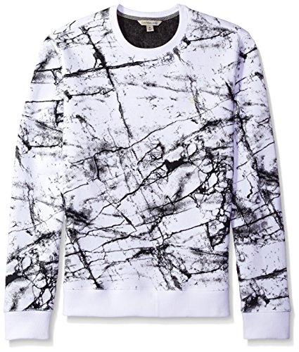 Calvin Klein Jeans Men's Marble Printed Crew Neck Sweatshirt, White Wash, X-LARGE