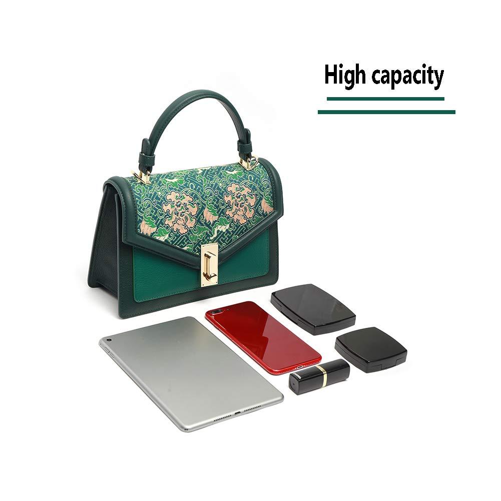 FFYUYI kinesisk etnisk typ-axelväska, känslig Lied Jin-mönster-kors-bodyväska, grön BLÅ