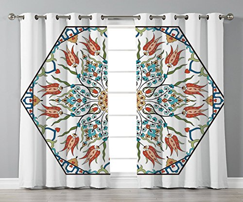 - Thermal Insulated Blackout Grommet Window Curtains,Antique,Ottoman Turkish Floral Pattern Tulips Medieval Baroque Effect on Dated Islamic Art,Multicolor,2 Panel Set Window Drapes,for Living Room Bedro