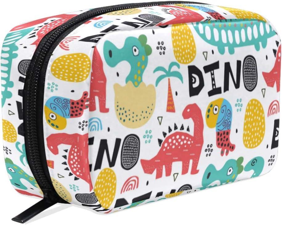 Wamika - Bolsa de maquillaje con diseño de dinosaurio con palmeras y huevos para mujer, diseño de animales de dibujos animados