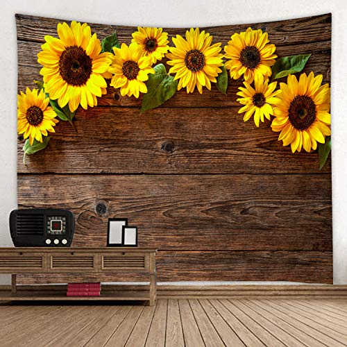 Flower Print Fabrics - Wooden Board Sunflower Flower Print Fabric Tapestry Decor Wall Art Tablecloths Bedspread Picnic Blanket Beach Throw Tapestries Colorful Bedroom Hall Dorm Living Room Hanging 91 x 71 inches