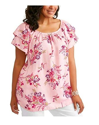 aefa5892ac4 Terra   Sky Women s Plus Size Daylily Pink Floral Print Off Shoulder  Peasant Top ...