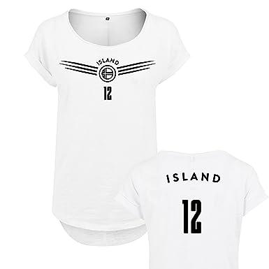 7273f4392d06 OwnDesigner Qualitäts Damen WM Shirt Island (Island-36-Weis-L ...