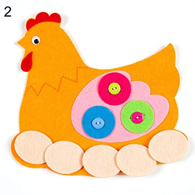 ckinKSurs621 Development Kids Toy for Children Cute Animal Flower Zipper Button DIY Non-Woven Boards Children Teaching Toy - Chicken: Toys & Games