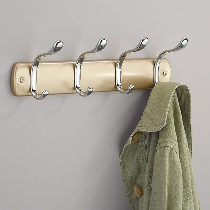 InterDesign Bruschia Colgador de pared, perchero de metal con 4 ganchos para colgar, champán/plateado