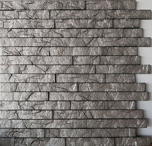 Wall Panel Ledge Stone - Decorative Interlocking Thermoplastic Tiles 24x24 (Sparkled Grey)