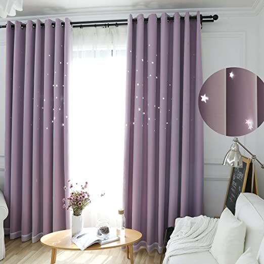 Amazon Com Girls Curtains For Bedroom Decor Single Curtain Panel Pole Pocket Window Sheer Drapes Pastel Teal Purple Ombre Curtains For Kids Room Teen Princess Decorations Set Lilac Turquoise 42 X 63 Inch