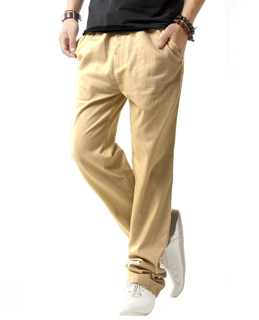 SIR7 Men's Linen Casual Lightweight Drawstrintg Elastic Waist Summer Beach Pants Khaki M